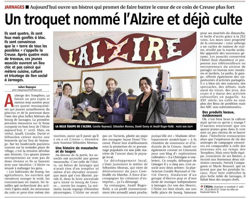 article du journal La Montagne - Julien Rapegno